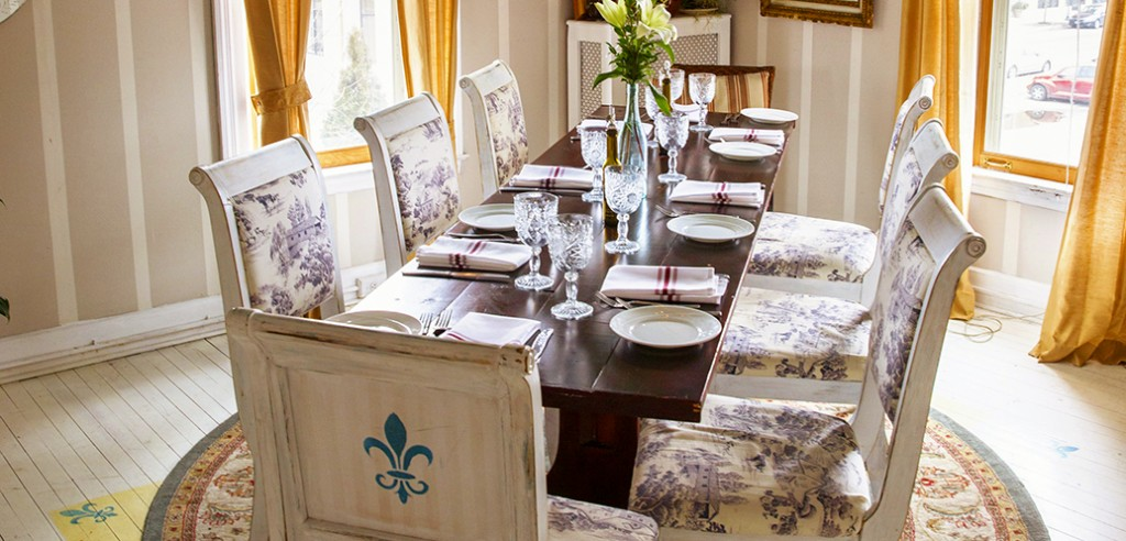 One of the private dining rooms at The Mouzon House, a Saratoga Springs, NY Fine Dining Farm to Table restaurant in an historic downtown Victorian